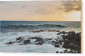 Tide Pool Sunsets In Hawaii Wood Print by Brandon McClintock