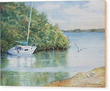 Wood Print featuring the painting Tide's Out by Roger Rockefeller