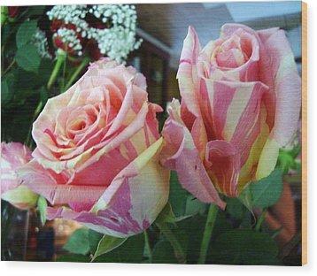 Tie Dye Roses Wood Print