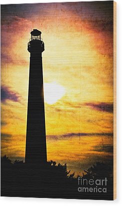 Tie Dye Sky - Lighthouse Wood Print by Colleen Kammerer