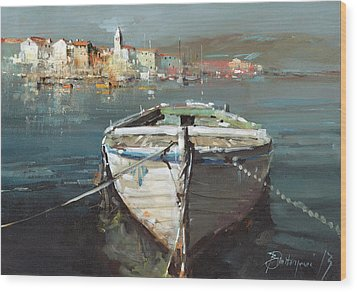 Tied Boat By The City Wood Print by Branko Dimitrijevic