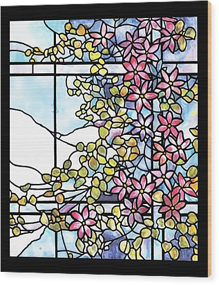 Stained Glass Tiffany Floral Skylight - Fenway Gate Wood Print by Donna Walsh