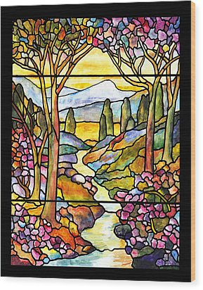 Tiffany Landscape Window Wood Print