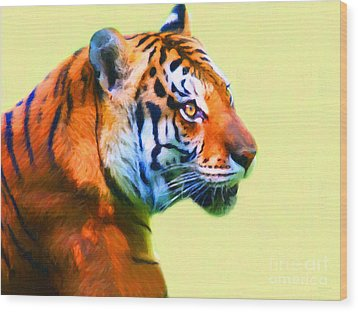 Tiger . 7d2058 . Painterly Wood Print by Wingsdomain Art and Photography