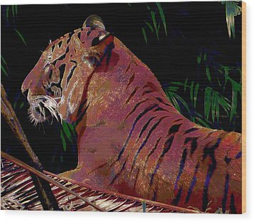 Wood Print featuring the painting Tiger 2 by David Mckinney