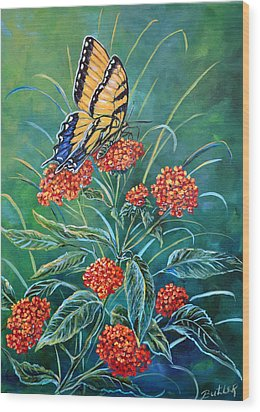 Tiger And Lantana Wood Print