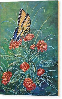 Tiger And Lantana Wood Print