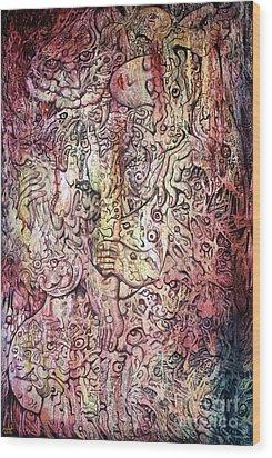 Tiger And Woman Wood Print by Kritsana Tasingh