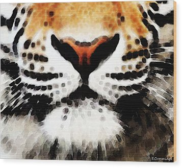Tiger Art - Burning Bright Wood Print by Sharon Cummings