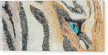 Wood Print featuring the drawing Tiger Blue by Stephanie Grant
