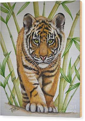 Tiger Cub Wood Print by Tish Wynne