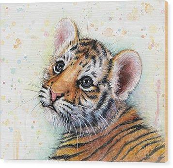 Tiger Cub Watercolor Art Wood Print by Olga Shvartsur