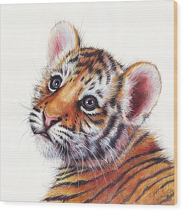 Tiger Cub Watercolor Painting Wood Print by Olga Shvartsur
