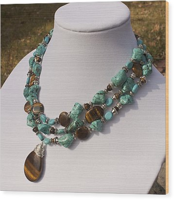 Tiger Eye And Turquoise Triple Strand Necklace 3640 Wood Print by Teresa Mucha