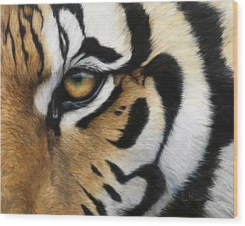 Tiger Eye Wood Print by Lucie Bilodeau