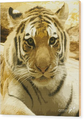 Wood Print featuring the digital art Tiger Eyes by Erika Weber