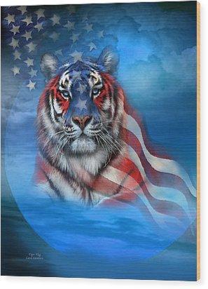 Tiger Flag Wood Print by Carol Cavalaris