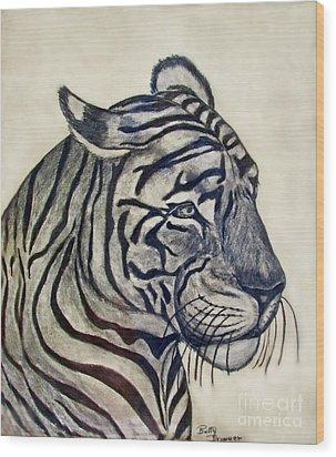 Tiger II Wood Print by Debbie Portwood