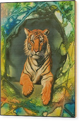 Tiger In Abstract Wood Print by Paul Krapf