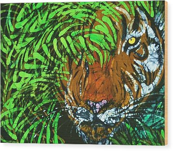 Tiger In Bamboo  Wood Print by Kay Shaffer