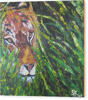 Tiger In The Grass  Wood Print