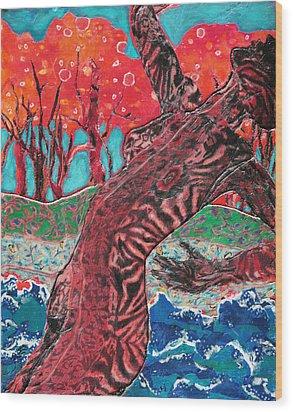 Tiger Lady Wood Print by Diane Fine