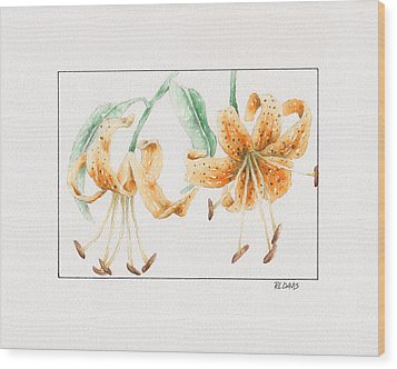 Wood Print featuring the painting Tiger Lilies by Rebecca Davis