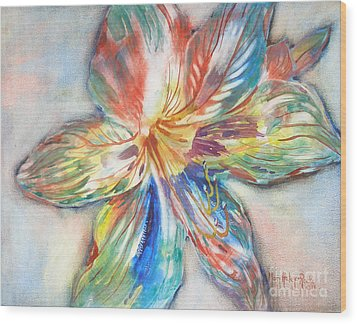 Tiger Lilly Wood Print by Mary Haley-Rocks