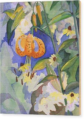 Tiger Lily In Dappled Light  Wood Print