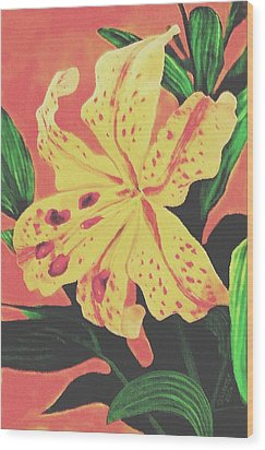 Wood Print featuring the painting Tiger Lily by Sophia Schmierer