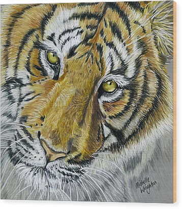 Tiger Painting Wood Print by Michelle Wrighton