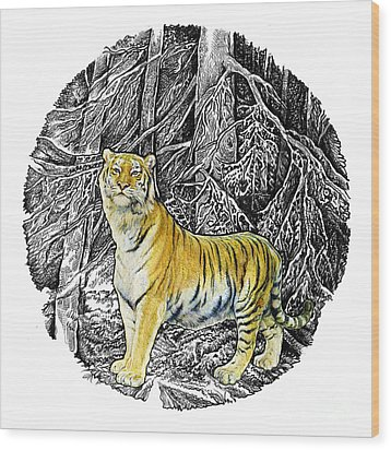 Tiger Wood Print by Natalie Berman