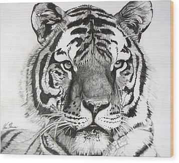 Tiger On Piece Of Paper Wood Print by Kevin F Heuman