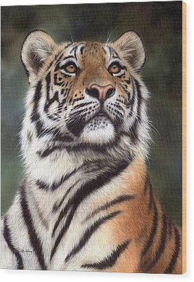 Tiger Painting Wood Print by Rachel Stribbling