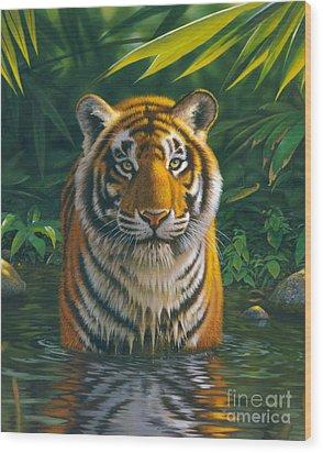 Tiger Pool Wood Print