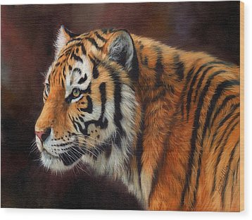 Tiger Portrait  Wood Print by David Stribbling