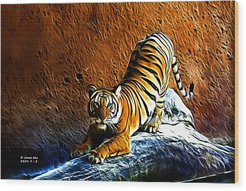 Tiger Pounce -  Fractal - S Wood Print by James Ahn