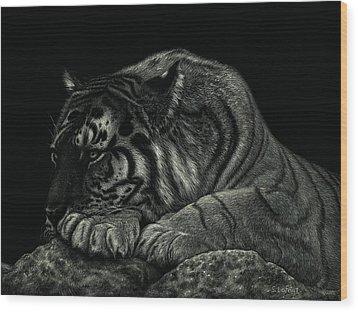 Tiger Power At Peace Wood Print by Sandra LaFaut