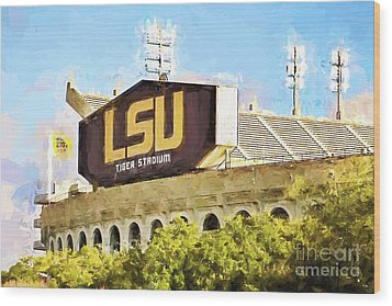 Tiger Stadium - Bw Wood Print