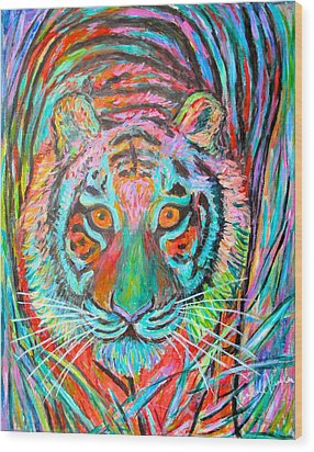 Tiger Stare Wood Print by Kendall Kessler
