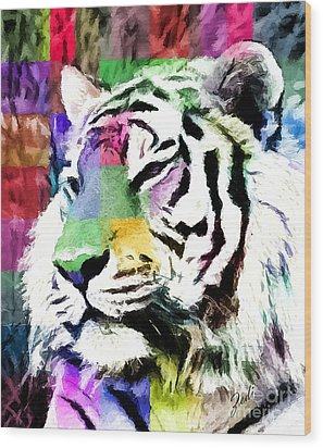 Wood Print featuring the painting Tiger - Tigre by Ze  Di