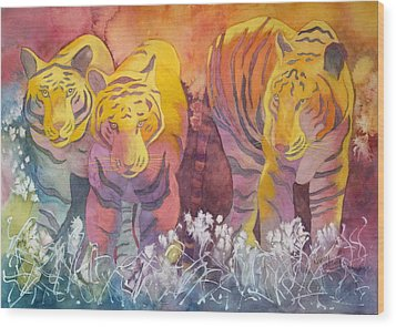 Wood Print featuring the painting Tiger Trio by Nancy Jolley