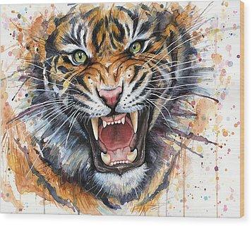 Tiger Watercolor Portrait Wood Print by Olga Shvartsur