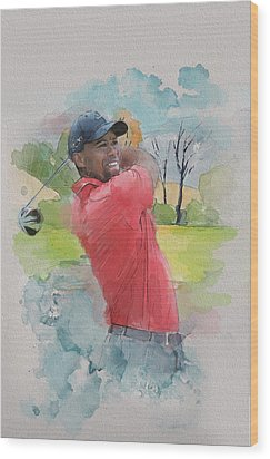 Tiger Woods Wood Print by Catf