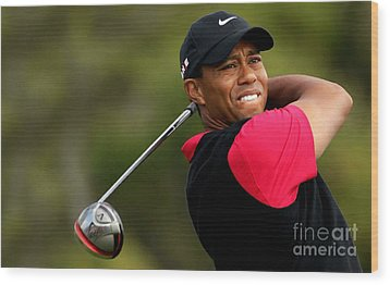Tiger Woods Golf Wood Print by Lanjee Chee