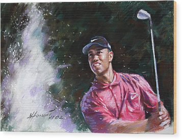 Tiger Woods  Wood Print by Viola El