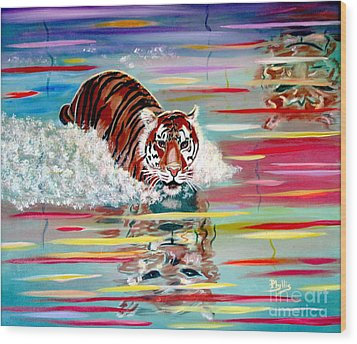 Wood Print featuring the painting Tigers Crossing by Phyllis Kaltenbach