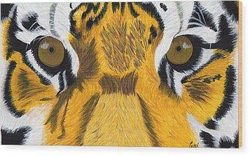 Tiger's Eyes Wood Print by Bav Patel