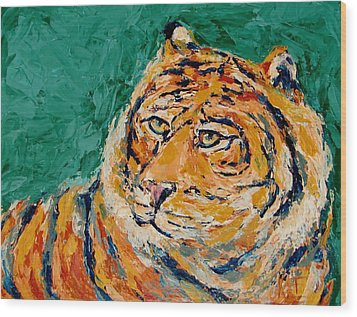 Tiger's Focus Wood Print by Kat Griffin