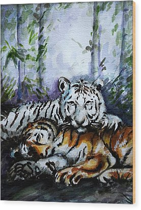 Wood Print featuring the painting Tigers-mother And Child by Harsh Malik
